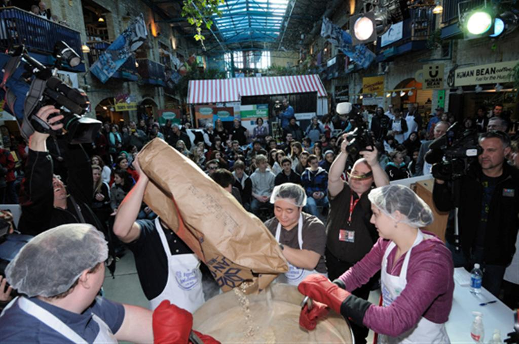 People crowded into the Forks to witness the world's biggest bowl of oatmeal.